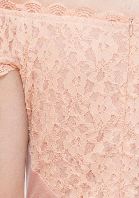 Blush Surprise Lace Skater Dress