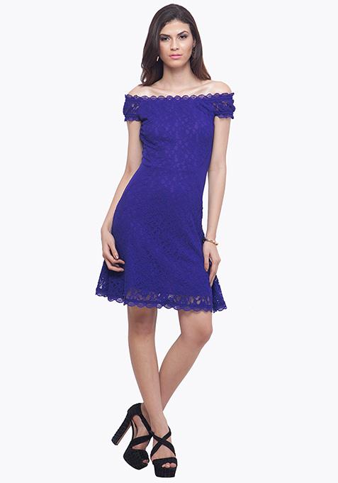 Blue Surprise Lace Skater Dress