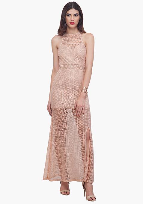 Blush Lace Halter Maxi Dress