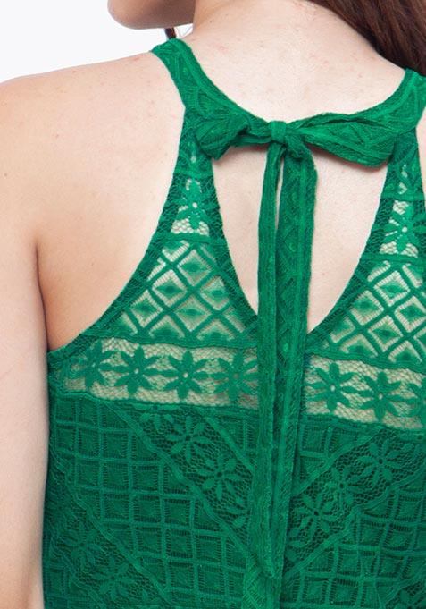 Green Lace Halter Maxi Dress