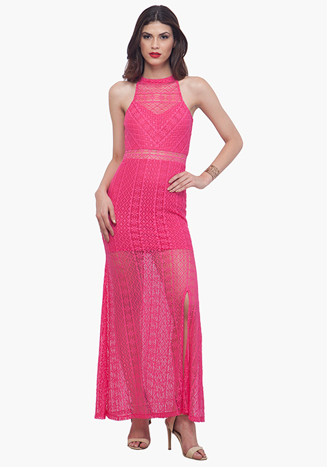 Pink Lace Halter Maxi Dress