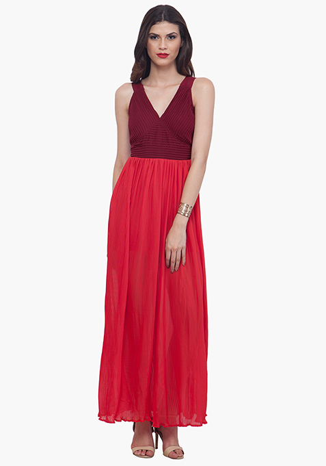 Color Block Maxi Dress - Oxblood