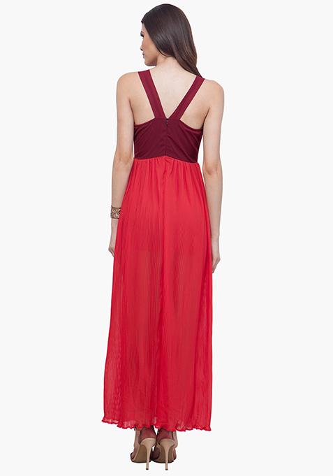Color Block Maxi Dress - Oxblood