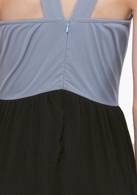 Color Block Maxi Dress - Grey