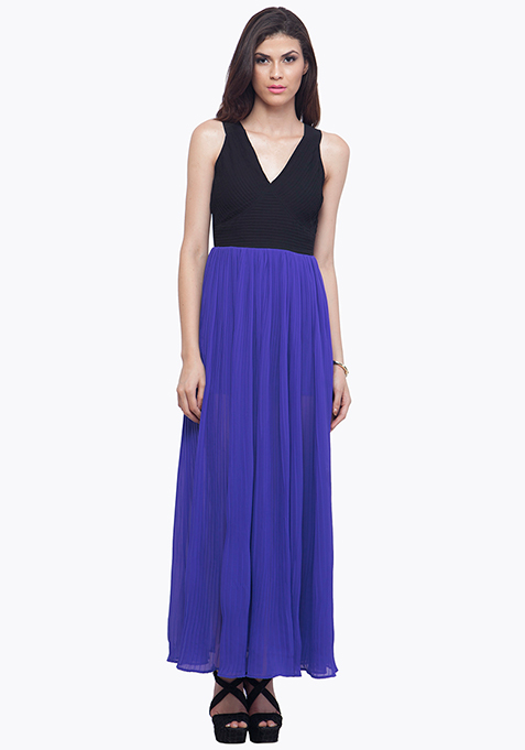 Color Block Maxi Dress - Blue
