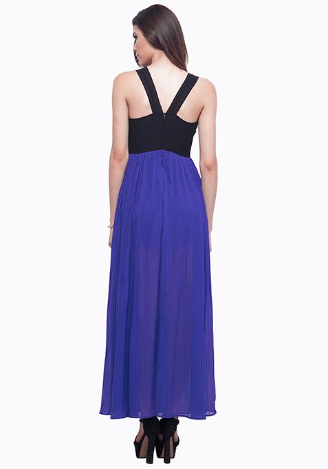 Color Block Maxi Dress - Blue
