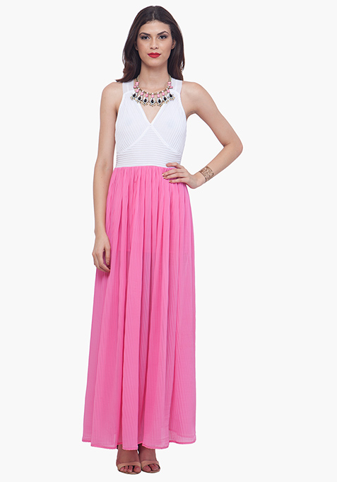 Color Block Maxi Dress - Pink