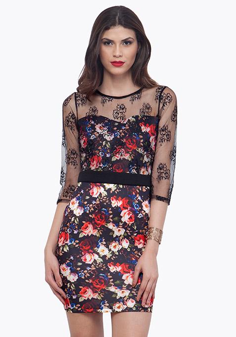 Lace Overture Dress - Black Floral