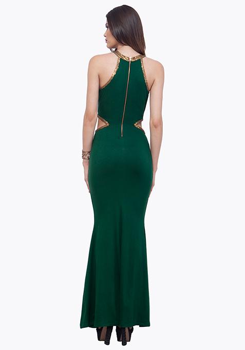 Sequin Stash Maxi Dress - Green