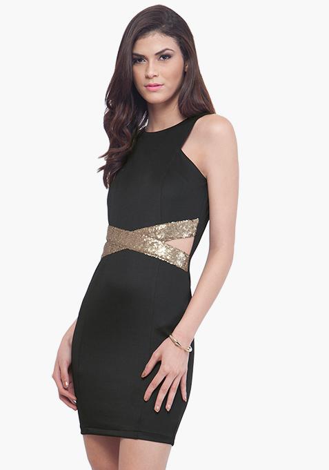 Sequin Cross Over Dress - Black