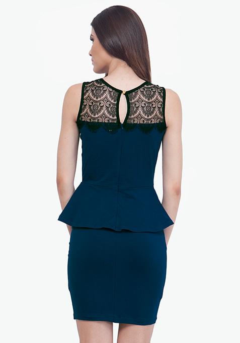 Flirty Blue Peplum Dress