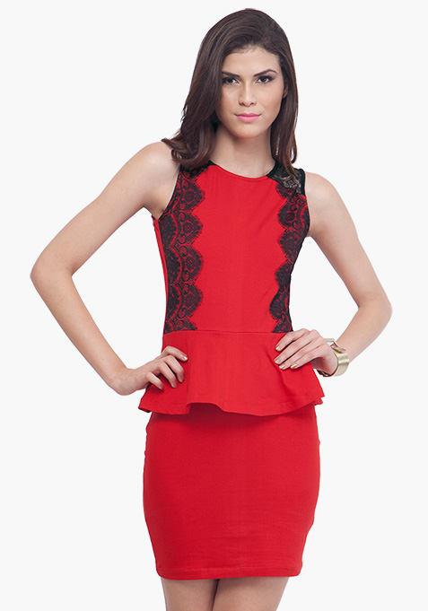 Flirty Red Peplum Dress