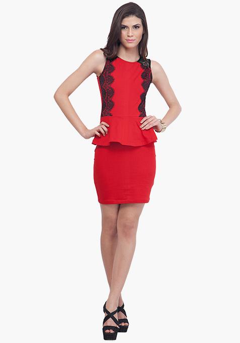 Flirty Red Peplum Dress