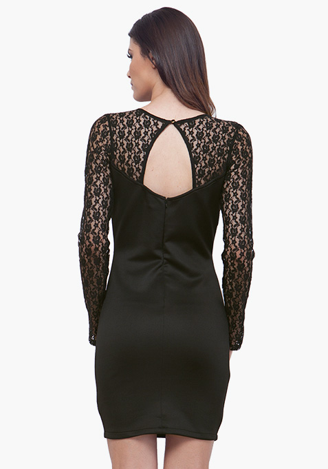 Sequin Lace Bodycon Dress - Black