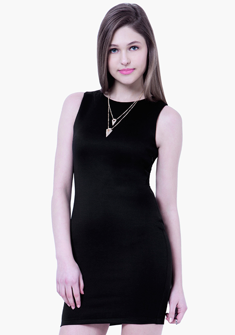 BASICS Scuba Bodycon Dress - Black