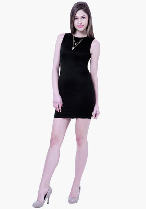 BASICS Scuba Bodycon Dress - Black