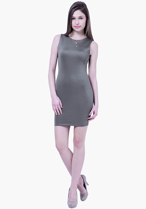 BASICS Scuba Bodycon Dress - Grey
