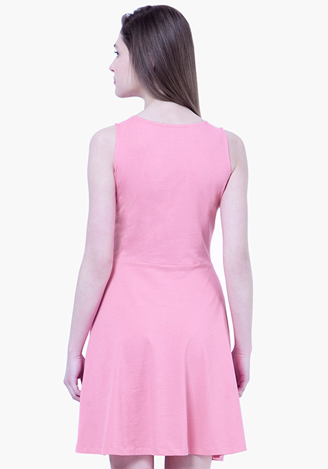 BASICS Flare Jersey Midi Dress - Pink
