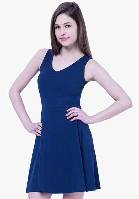 BASICS Flare Jersey Midi Dress - Blue