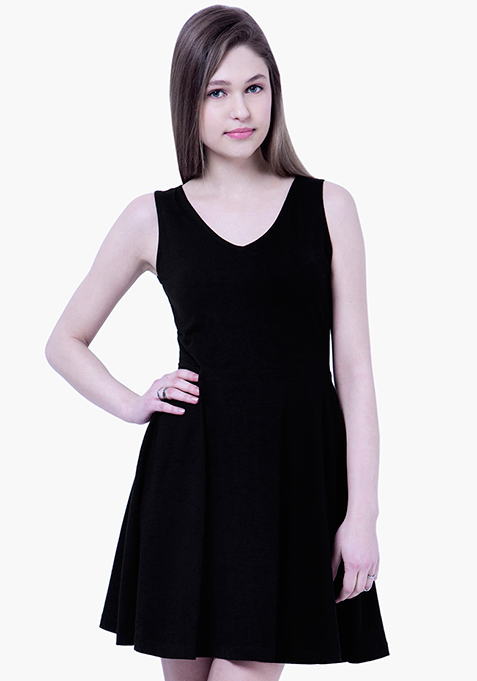 BASICS Flare Jersey Midi Dress - Black