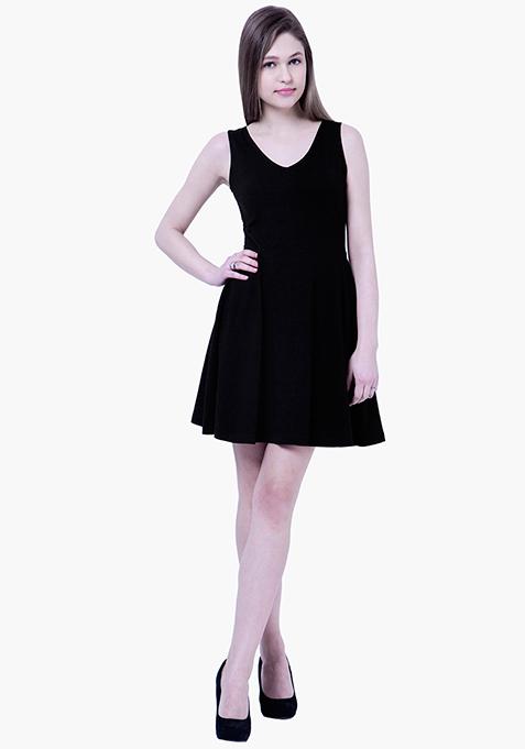 BASICS Flare Jersey Midi Dress - Black