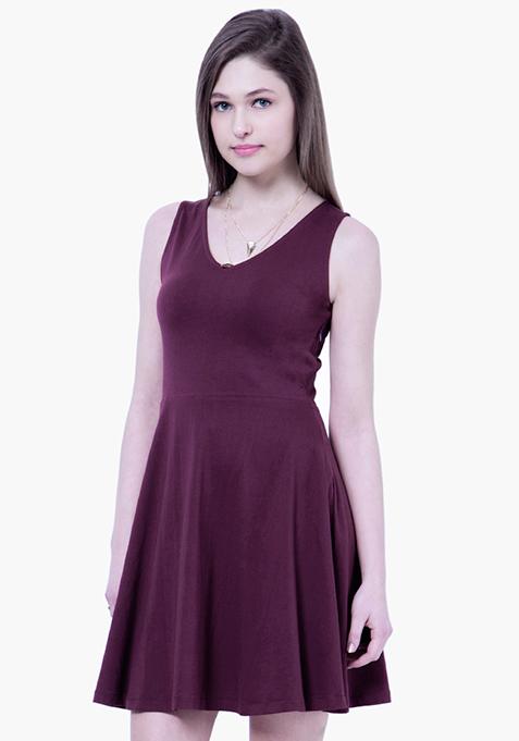 BASICS Flare Jersey Midi Dress - Purple