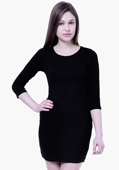 BASICS Pep-Up Black T-Shirt Dress