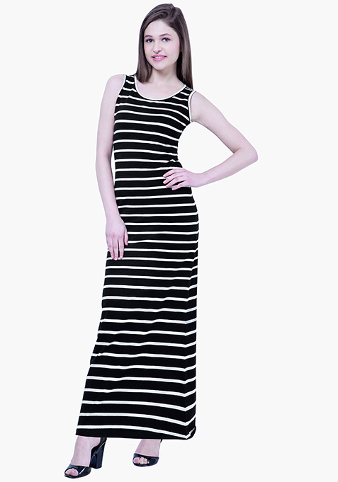 BASICS Striped Maxi Dress - Black