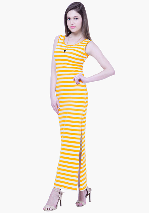 BASICS Striped Maxi Dress - Yellow