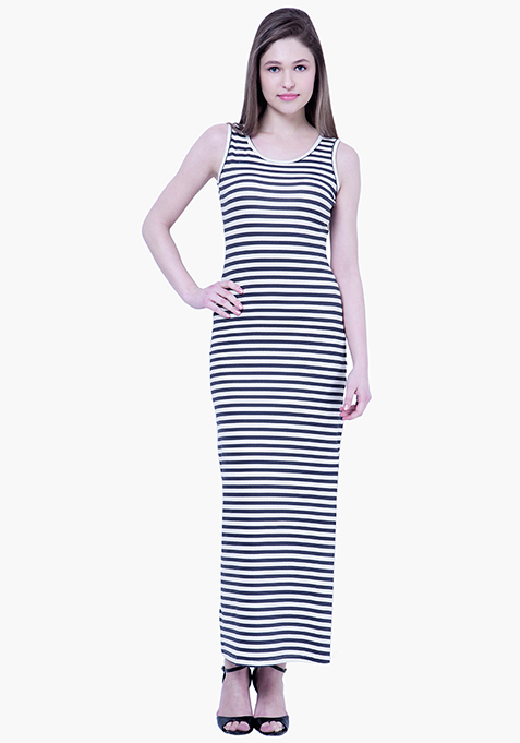 BASICS Striped Maxi Dress - Navy