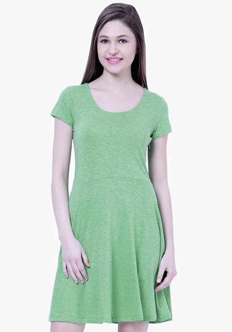 BASICS Green Slub Skater Dress