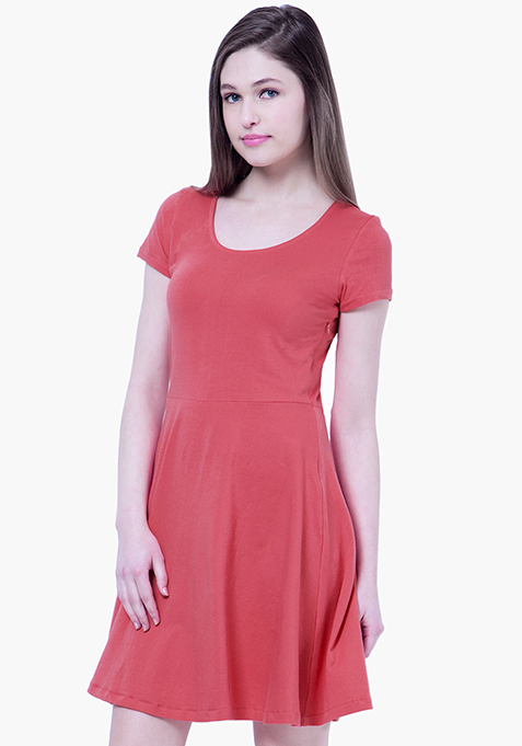 BASICS Coral Slub Skater Dress