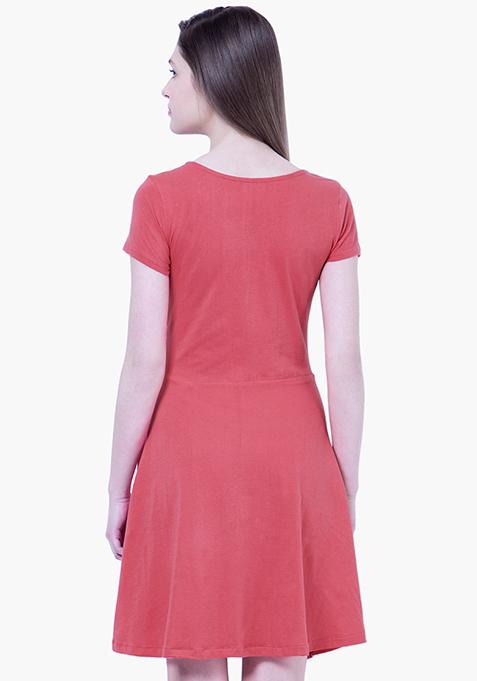 BASICS Coral Slub Skater Dress