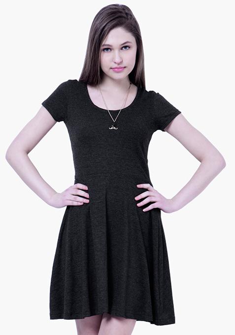 BASICS Black Slub Skater Dress