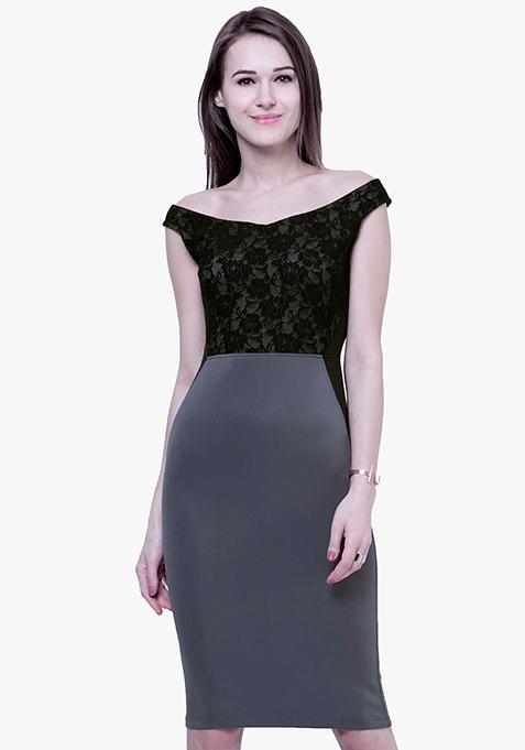 Bardot Lace Bodycon Midi Dress - Grey