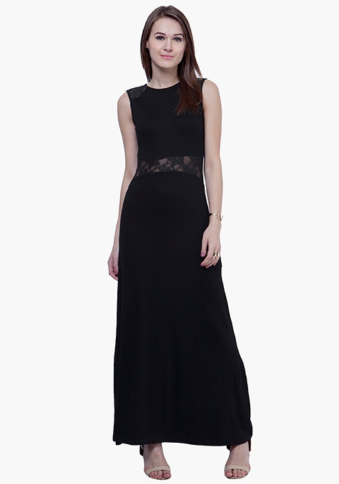 Lace Peek Maxi Dress - Black