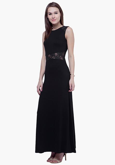 Lace Peek Maxi Dress - Black