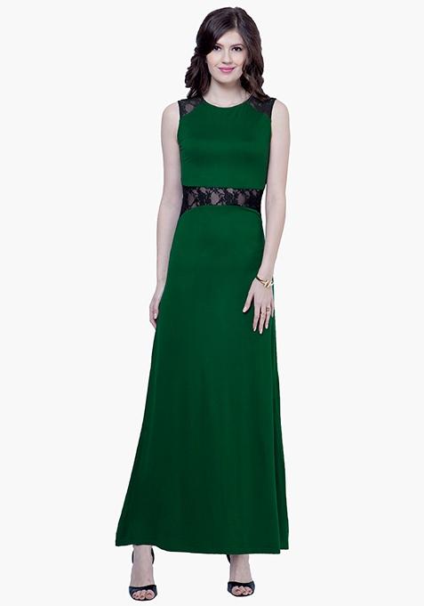Lace Peek Maxi Dress - Green