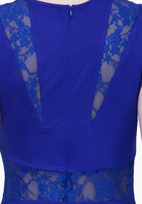 Lace Peek Maxi Dress - Blue