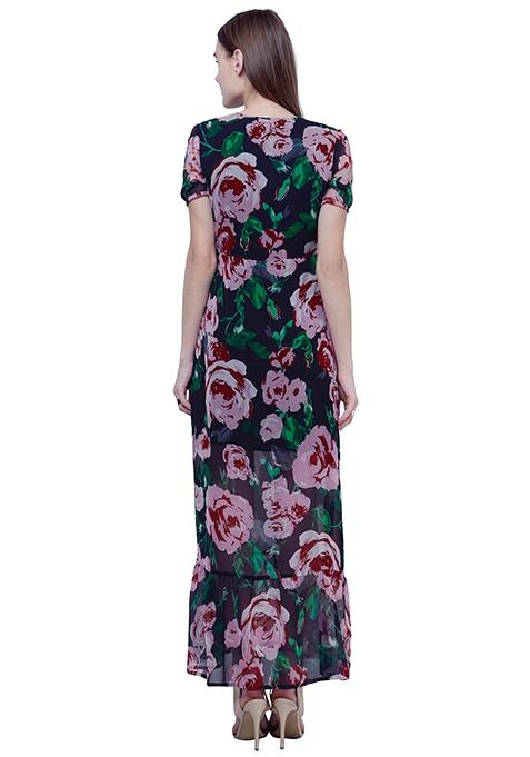 Boho Chic Maxi Dress - Midnight Rose