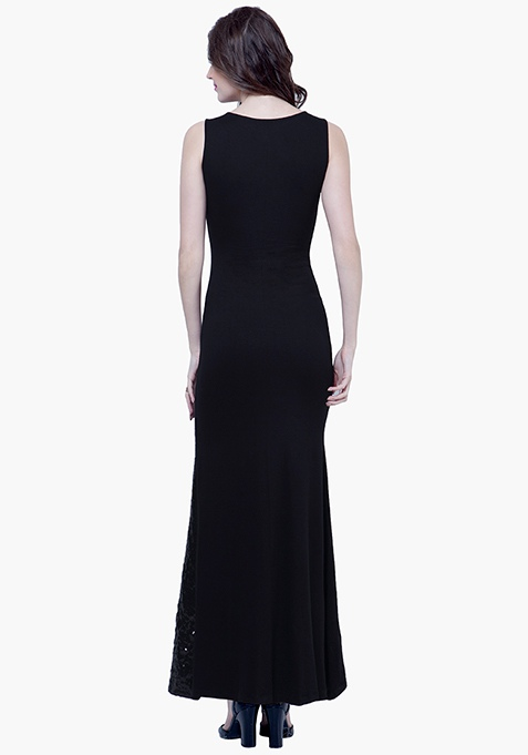 Sequin Siren Maxi Dress - Black