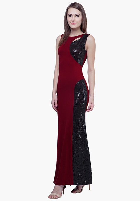 Sequin Siren Maxi Dress - Oxblood