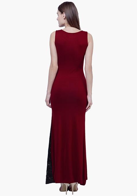Sequin Siren Maxi Dress - Oxblood
