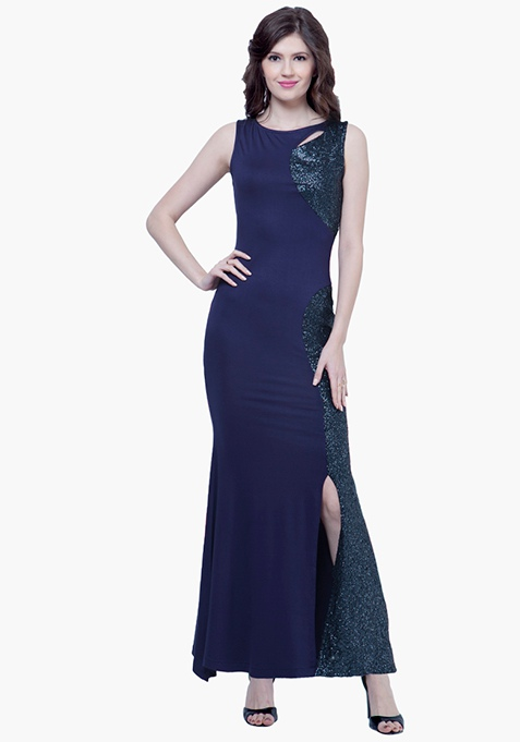 Sequin Siren Maxi Dress - Navy