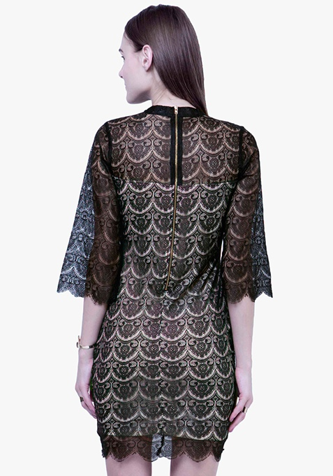 Eyelash Lace Mini Dress - Black