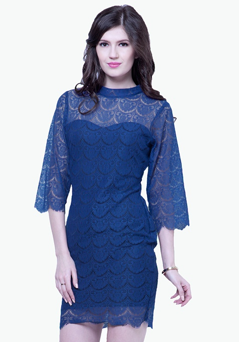 Eyelash Lace Mini Dress - Blue