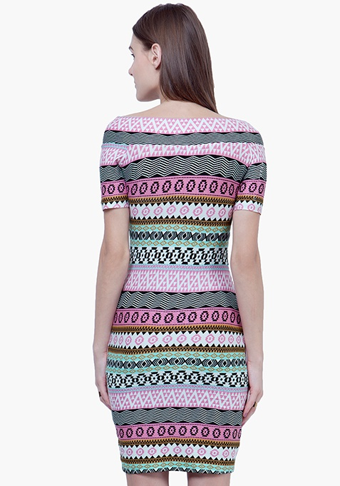 Cross Over Bardot Dress - Aztec