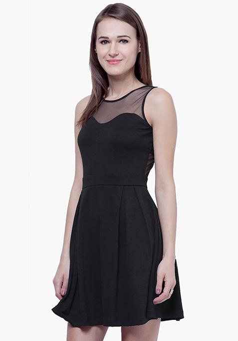 Mesh Maze Skater Dress - Black