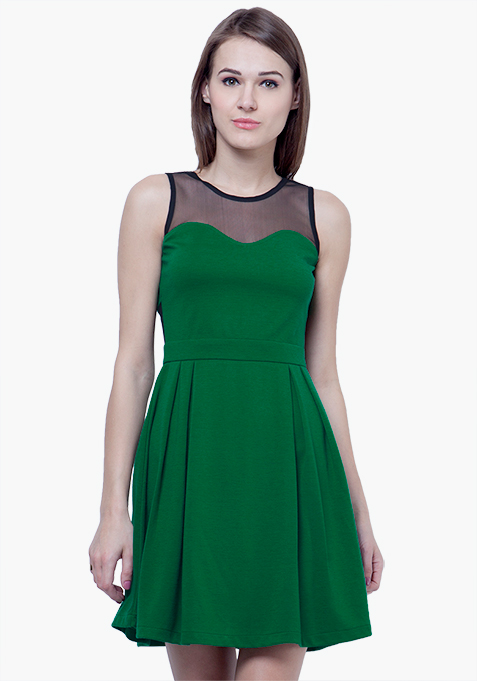 Mesh Maze Skater Dress - Green