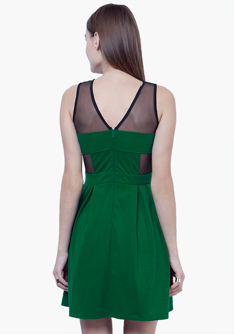 Mesh Maze Skater Dress - Green